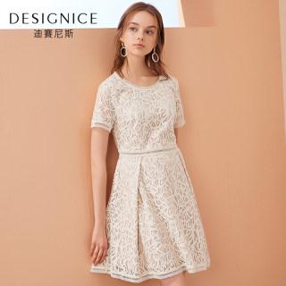 迪赛尼斯2019春夏蕾丝连衣裙女新款法式复古小众短袖收腰中长