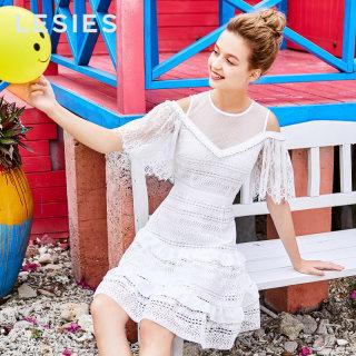 2019春仙气连衣裙女白色网纱拼接蕾丝露肩短袖裙子