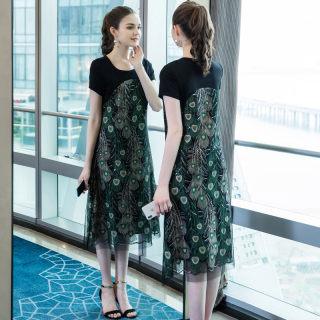 2019加胖加肥大码女装夏装新款圆领撞色修身显瘦优雅连衣裙