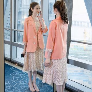 大码女装胖mm减龄碎花吊带外套两件套2019秋装新品宽松套装