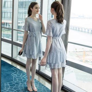 2019夏季新款大码女装胖妹妹遮肚减龄小清新提花雪纺连衣裙