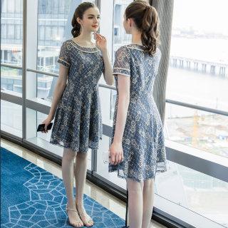 大码女装胖mm气质减龄连衣裙2019夏装新款蕾丝宽松显瘦裙子潮