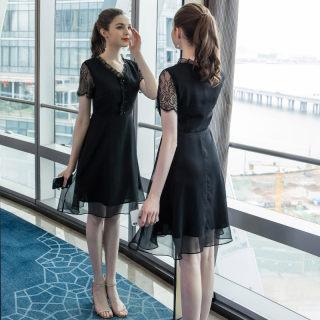 2019大码女夏季新款适合胯大腿粗胖妹妹的雪纺连衣裙遮肚显瘦