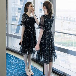 大码女装胖mm气质减龄印花雪纺连衣裙2019夏装新款200斤裙子