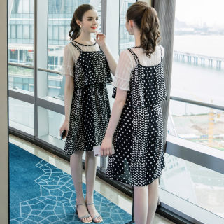2019夏季新款大码女装波点吊带网纱裙遮肚减龄宽松两件套裙