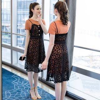 2019夏季新款胖mm大码吊带连衣裙两件套蕾丝遮肚洋气时尚套装