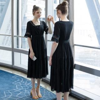 2019夏季新款大码女装200斤胖妹妹时尚遮肚显瘦中长款连衣裙