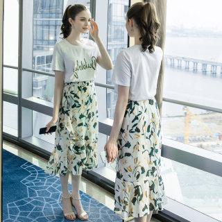 2019夏季新款大码女装200斤胖妹妹时尚钉珠印花中长款套装裙