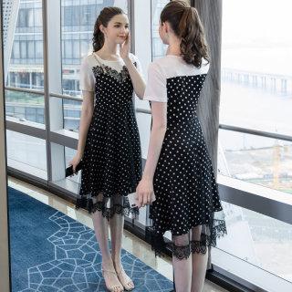 2019夏季新款大码女装200斤胖妞气质时尚雪纺网纱拼接连衣裙