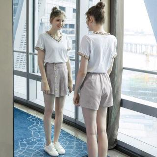 2019夏季新款欧美大码女装200斤胖妹妹显瘦减龄时尚休闲套装
