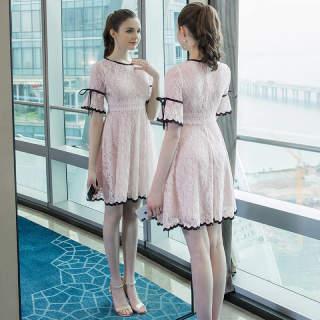 大码女装胖mm时尚提花蕾丝拼接连衣裙2019夏季新款胖公主裙子