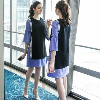 2019大码女装春装新款宽松撞色两件套裙子时尚气质胖MM连衣裙