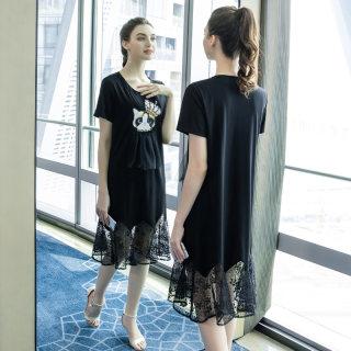 大码女装胖mm气质连衣裙2019夏季新款200斤适合胖妹妹的裙子