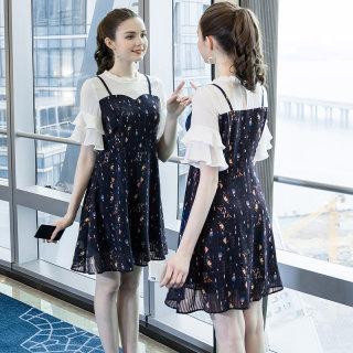 大码女装时尚假两件拼接连衣裙2019夏新款200斤减龄图案裙子
