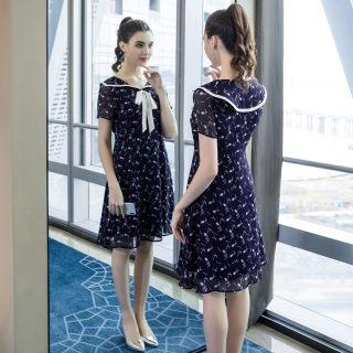 大码女装胖mm洋气减龄印花连衣裙2019夏季新款200斤宽松裙子