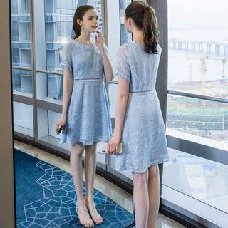 2019夏季新款大码女装气质胖mm法式镂空连衣裙200斤遮肉裙子
