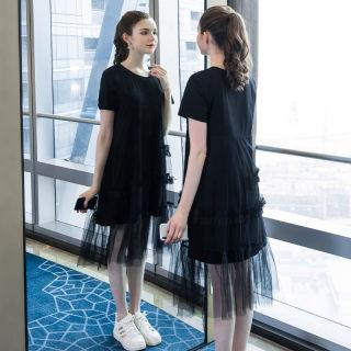 大码女装胖mm时尚纱网拼接连衣裙2019夏季新款200斤宽松裙子