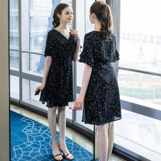 大码女装胖mm减龄印花连衣裙2019夏季新品200斤遮肚子宽松裙