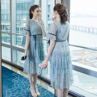2019夏季新款仙女甜美大码遮肚蕾丝法国小众洋气小清新连衣裙