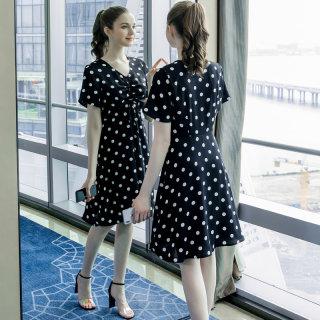 大码女装胖mm减龄显瘦连衣裙2019夏装新款波点抽褶宽松裙子潮