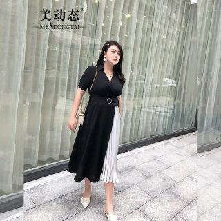 大码法式复古裙子夏季2019新款微胖mm适合胯大的连衣裙收腰显瘦