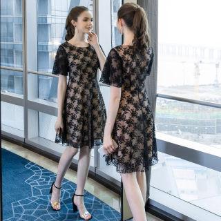 2019夏季新款大码女装气质减龄时尚胖mm法国小众蕾丝连衣裙