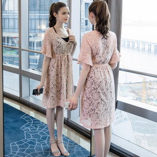 2019夏季新品大码女装洋气两件套连衣裙胖mm200斤宽松裙子
