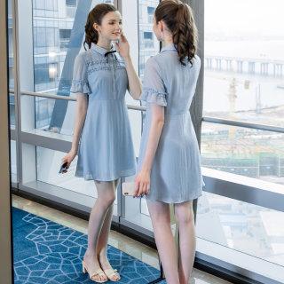 2019夏季新款气质减龄时尚胖妹妹法国小众超仙大码女装连衣裙