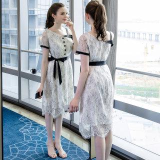2019夏季新款大码女装减龄宽松胖mm法式小众个性露肩连衣裙