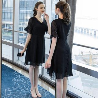 2019夏季新款大码女装200斤胖妹妹时尚宽松中长款雪纺连衣裙
