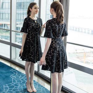 2019夏季新款大码女装200斤胖妹妹时尚蕾丝+雪纺拼接连衣裙
