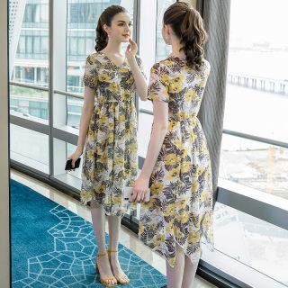大码女装蕾丝拼接气质时尚两件套裙子2019夏优雅修身A字裙潮