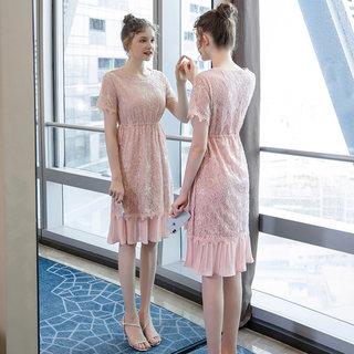 2019夏季新款大码女装200斤胖妹妹时尚优雅亮片蕾丝连衣裙