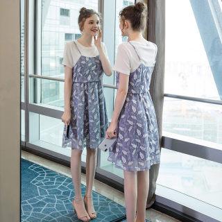 2019夏季新款大码女装200斤胖妹妹时尚遮肚显瘦假两件连衣裙