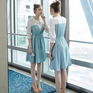 2019夏季新款大码女装微胖宽松时尚系腰带娃娃翻领雪纺连衣裙