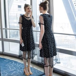 大码女装2019夏季新款时尚宽松连衣裙200斤胖妹妹网纱拼接中长款裙子