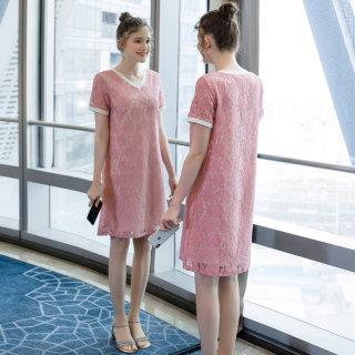 大码女装胖mm气质蕾丝连衣裙2019夏季新品适合胖女人穿的裙子