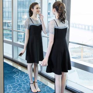 大码女装胖mm时尚蕾丝拼接连衣裙2019夏新款适合胖女人的裙子