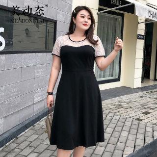 【蕾丝领口 性感迷人】美动态大码女装2019新款拼接蕾丝连衣裙