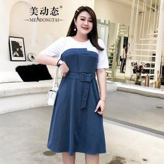 微胖妹妹裙子夏装2019新款加大码女装适合胖女人穿的连衣裙