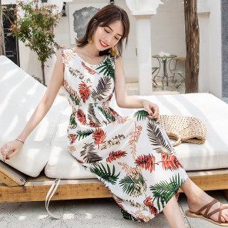 小清新碎花吊带裙2019夏季新款甜美复古田园风沙滩连衣裙