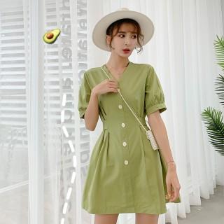【牛油果绿大码连衣裙】牛油果绿大码胖MM连衣裙连衣裙