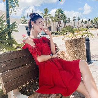 一字肩连衣裙女2019夏新款韩版小心机初恋裙雪纺露肩显瘦红色裙子