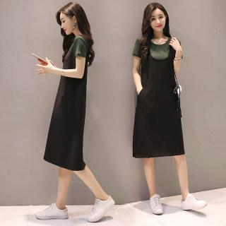 夏季新款女装韩版显瘦背带裙两件套连衣裙短袖套装吊带裙