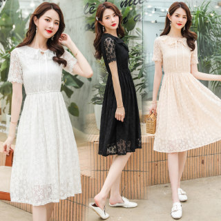 好质量 夏季女收腰显瘦连衣裙中长款蕾丝连衣裙