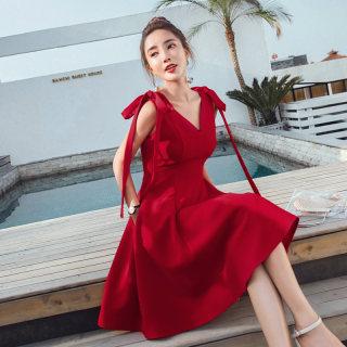 红色V领小个子洋气小香风名媛漏肩绑带连衣裙女夏装2019新款韩版