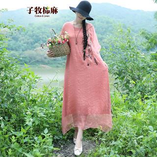夏季新款 女民族风女装刺绣文艺大码宽松飘逸短袖连衣裙