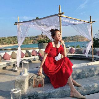 2019流行夏天裙子红色连衣裙仙女裙收腰长款超仙长裙女赫本小红裙