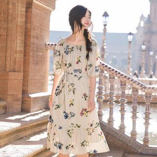 方领系带清新印花优雅气质条纹连衣裙女夏中长裙