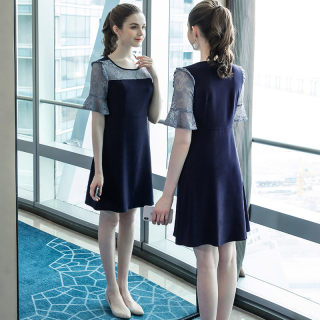大码女装胖mm蕾丝拼接连衣裙2019夏装新款宽松200斤减龄裙子